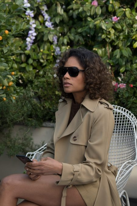 Naomie Harris on set of Michael Kors Collection x 007 campaign video.