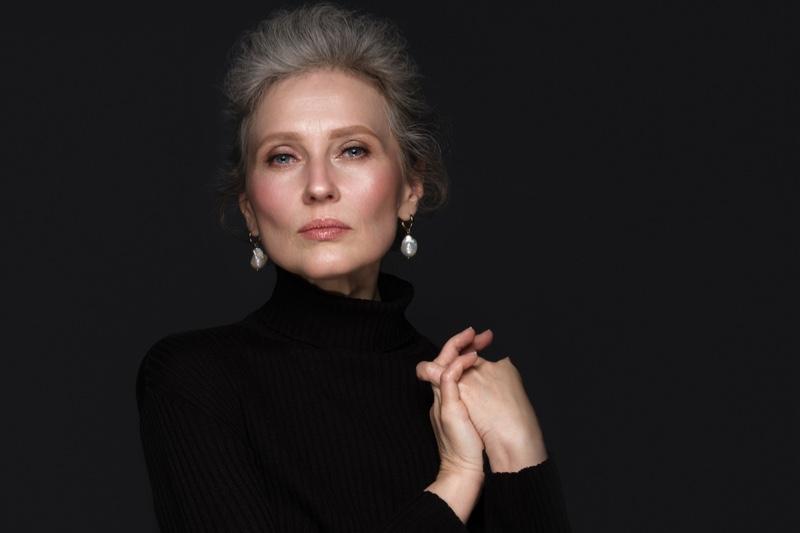 Older Model Grey Hair Drop Earrings Jewelry