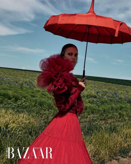 Patricia Zajacova Models Avant-Garde Styles for Harper's Bazaar Arabia