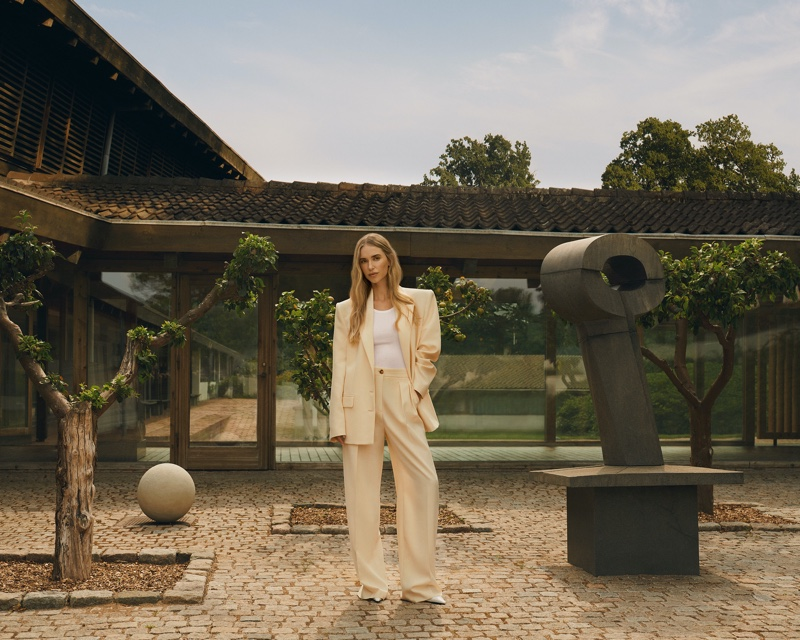 Pernille Teisbaek poses in suiting styles for Pernille x Mango campaign.