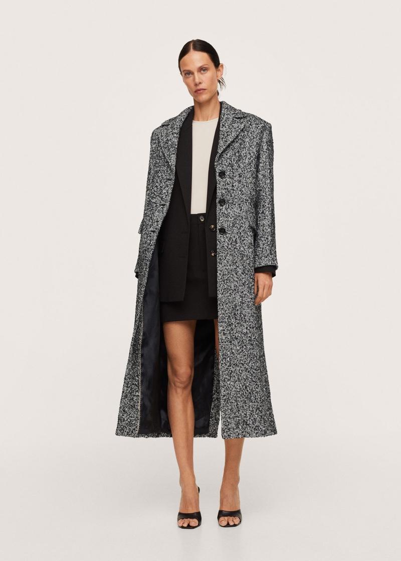 Pernille x Mango Marbled Knit Coat $229.99
