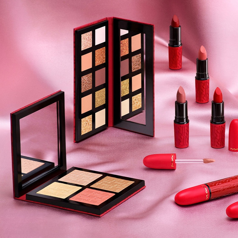 MAC Cosmetics Aute Cuture collection featuring eyeshadow palette and lipstick.