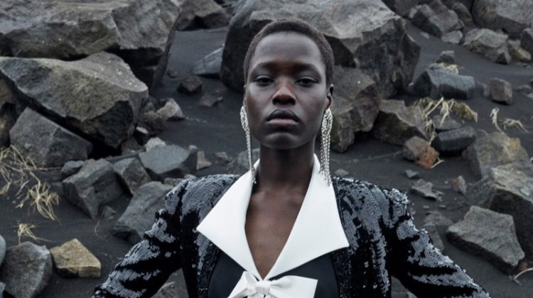Awar Odhiang models in Iceland for Saint Laurent winter 2021 campaign.