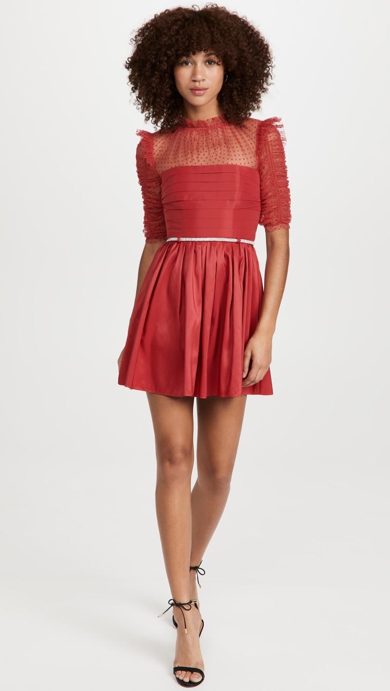 Self Portrait Red Taffeta Mini Dress $455