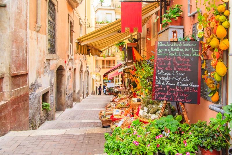 Sicily Food Menu Written Chalkboard
