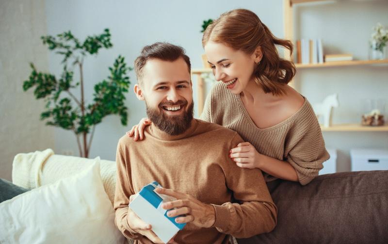 Smiling Couple Man Gift Box