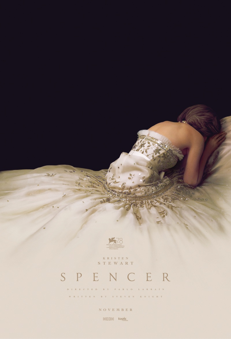 SPENCER teaser poster featuring vintage Chanel evening gown. | Photo Credit: NEON