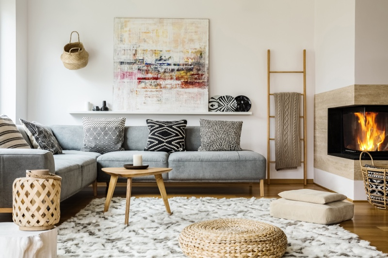 Stylish Home Living Room Abstract Art Rug Pillows