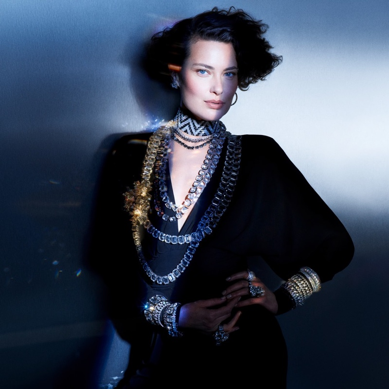 Shalom Harlow fronts Swarovski Collection II campaign.