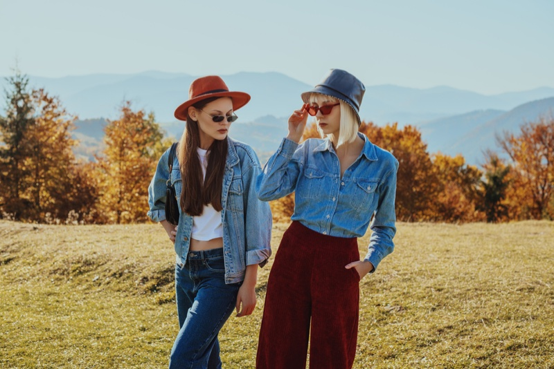 Two Models Denim Hats Fall Outfits