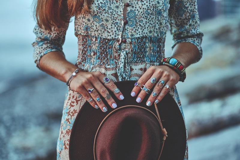 Woman Boho Rings Bracelets