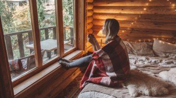 Woman Cozy Cabin Bedroom Cozy Window
