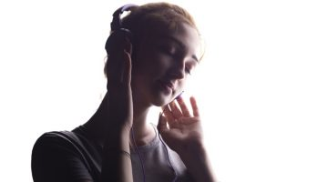 Woman Dreamy Headphones Shadow Image