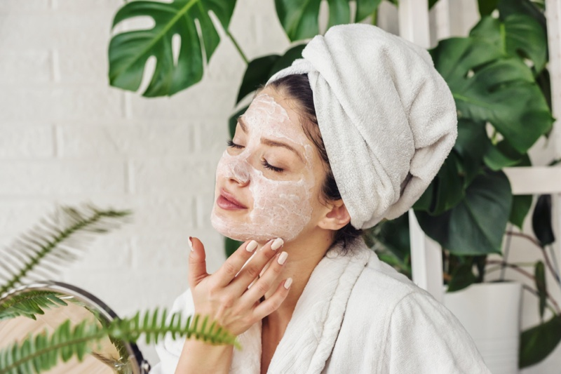 Woman Face Skincare Product Towel