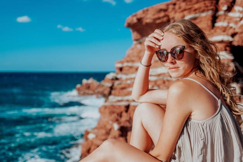 Woman Sicily Coast Water Sunglasses