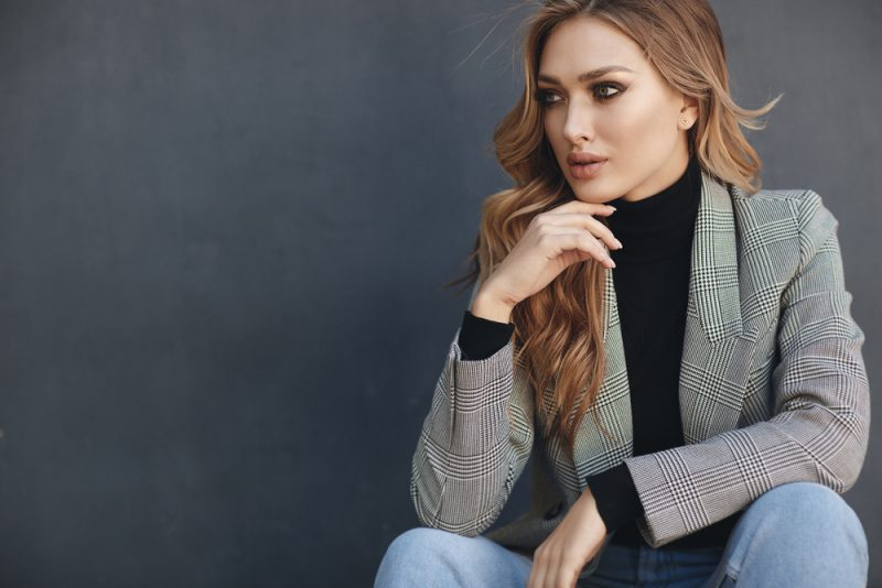 Woman Wearing Jacket Blazer Over Sweater