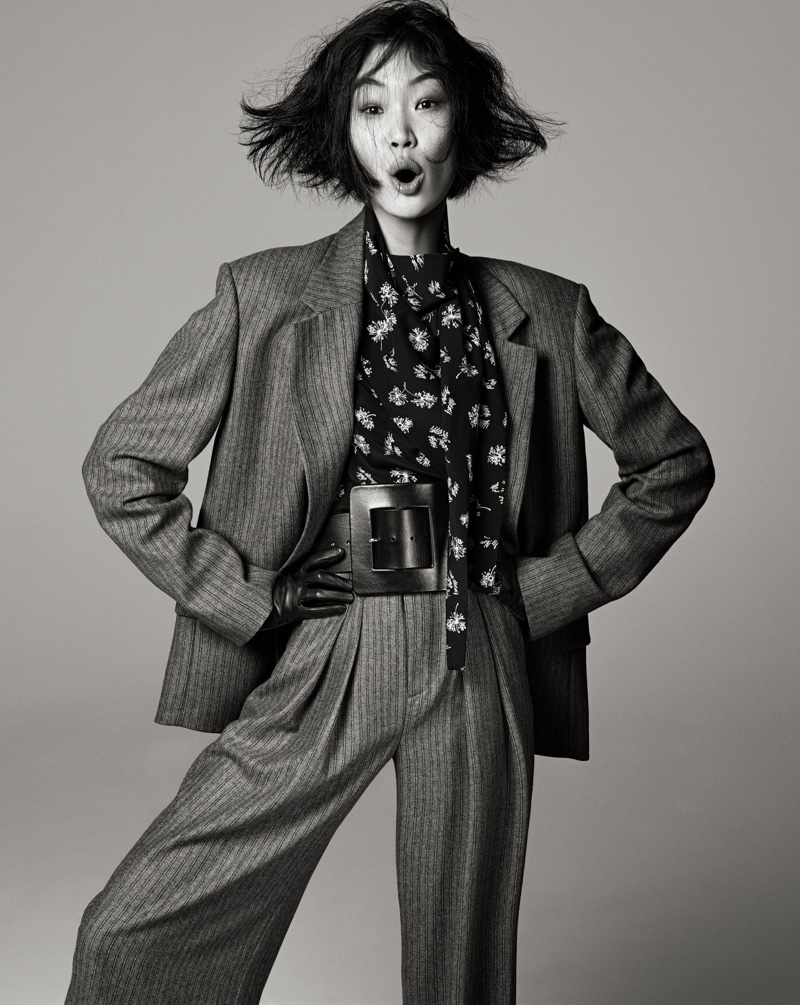 Chiharu Okunugi poses for Zara Studio fall-winter 2021 campaign.
