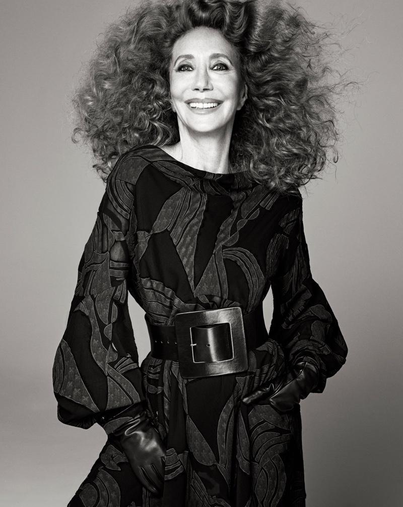 Marisa Berenson flashes a smile in Zara Studio fall-winter 2021 campaign.