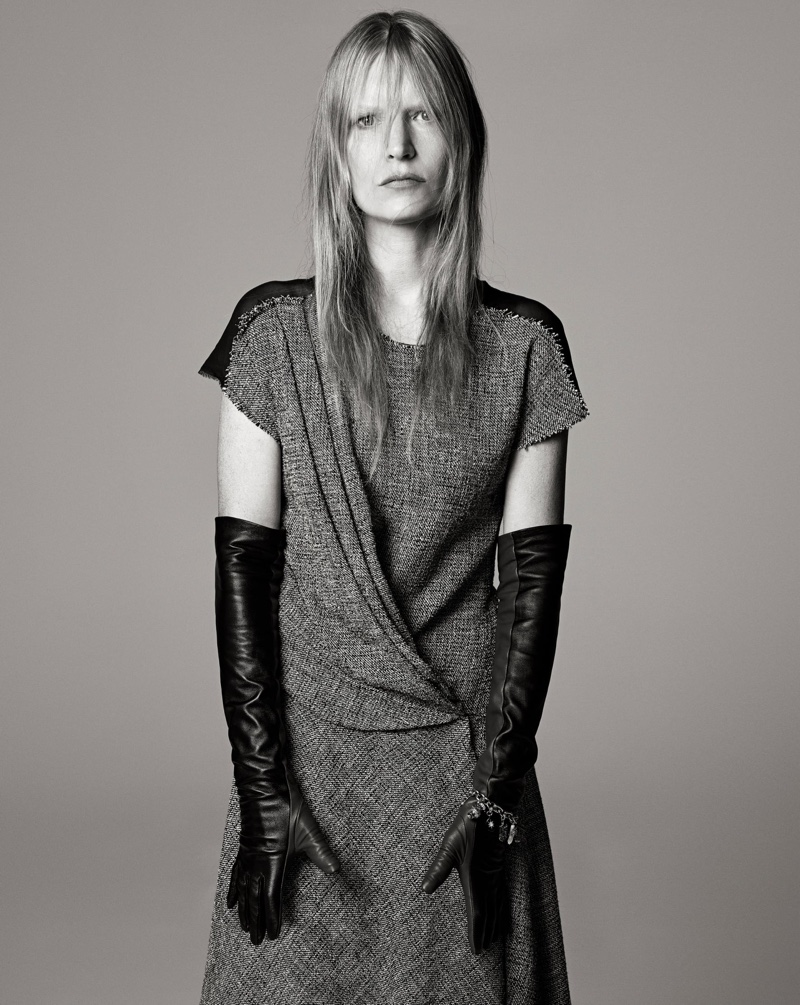 Kirsten Owen poses for Zara Studio fall-winter 2021 campaign.