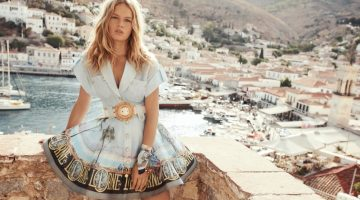 Model Anna Ewers poses for Zimmermann resort 2022 campaign.