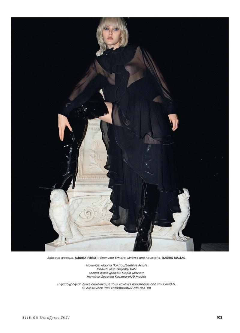 Zuzanna Kaczmarek Models Nighttime Outfits for ELLE Greece